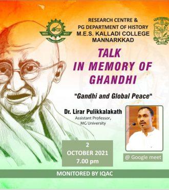 Talk in Memory of Ghandhi