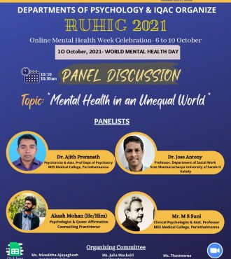 """PANEL DISCUSSION on the theme """" MENTAL HEALTH IN AN UNEQUAL WORLD """""""